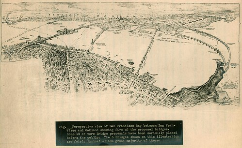 Perspective view of San Francisco Bay between San Francisco and Oakland showing five of the proposed bridges (1926)