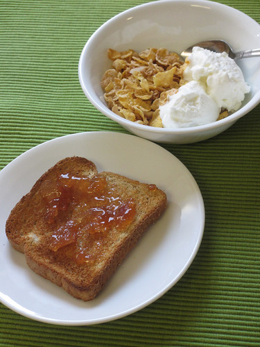 Cereal with Yogurt, Toast with Pear Preserves