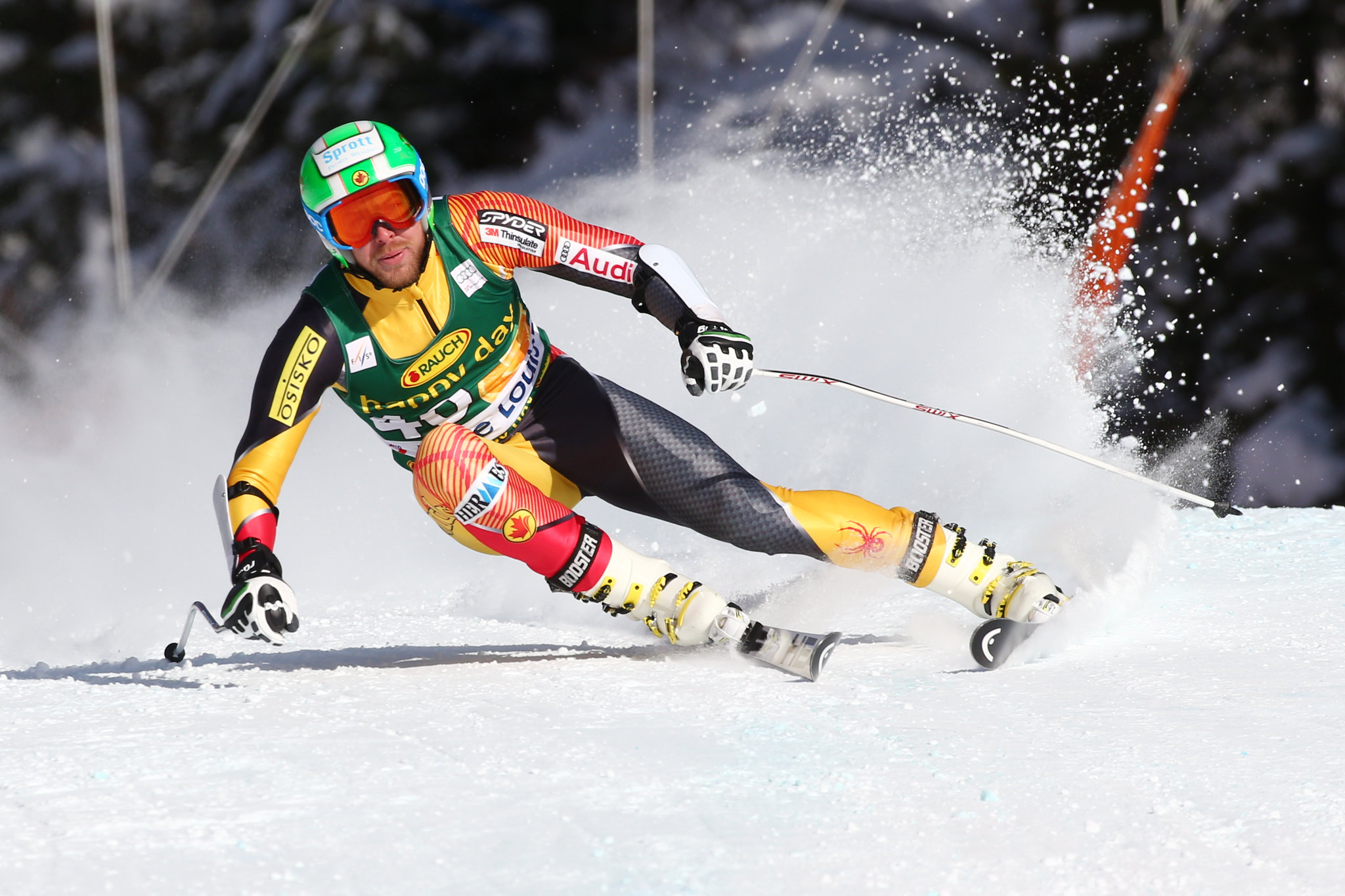 Dustin Cook in action during World Cup super-G in Lake Louise.
