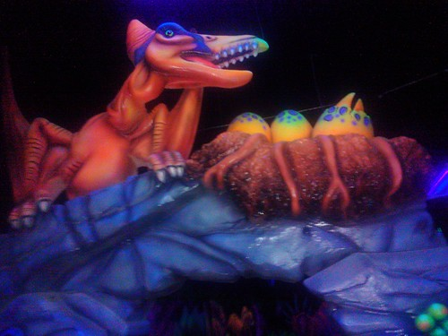 Dino-Mommy! dino-baby! hatching, blacklight mini-golf course, West Olympia, Washington, USA by Wonderlane