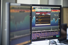 Image of computer screens in the Bloomberg Lab