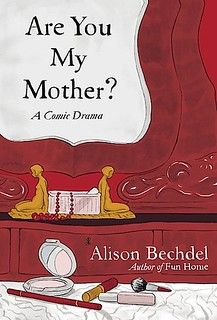 The cover of Are You My Mother, a close-up of a makeup trousseau with makeup and jewelry spread over a red counter.
