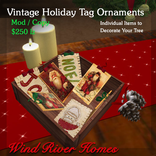 Vintage Holiday Tag Ornaments by Teal Freenote