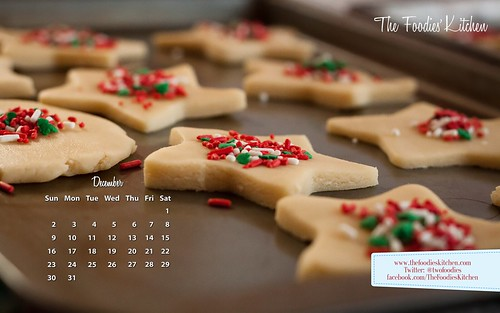 Foodies Freebie: December 2012 Desktop Calendar