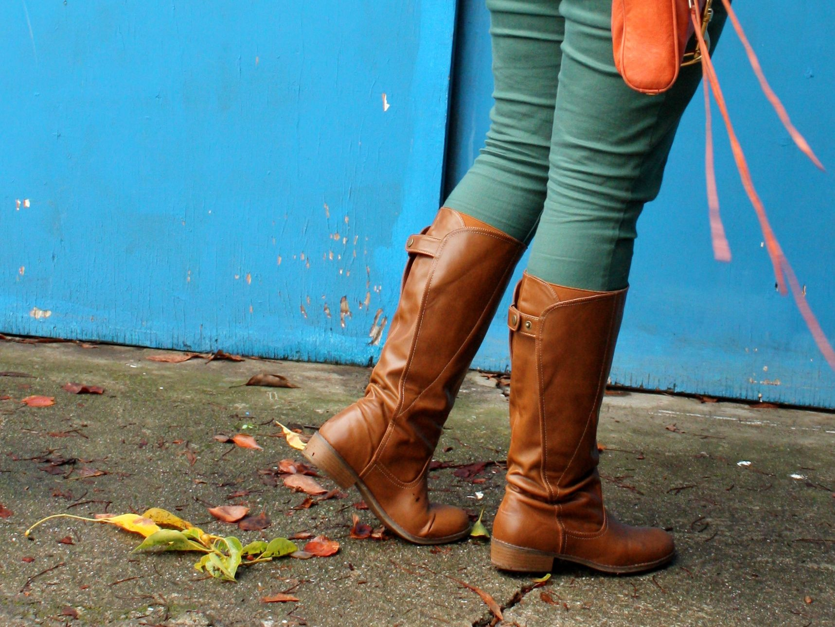 polka dot sweater and blouse - forest green jeans - congac boots - orange rebecca minkoff mac03