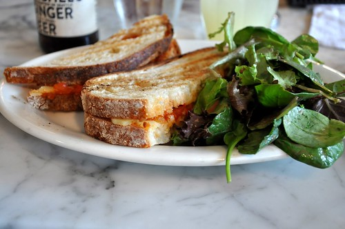 manchego and tomato-onion jam grilled cheese sandwich