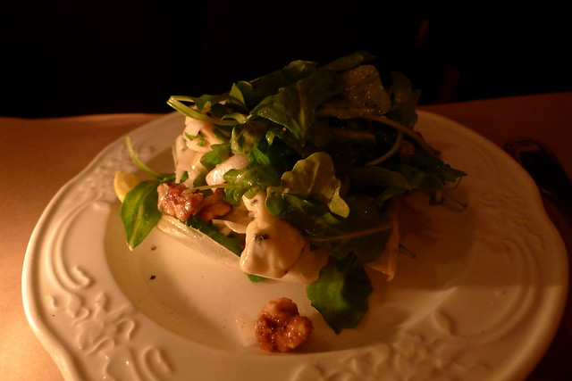 mixed lettuces with goat cheese, hazelnuts, and roasted shallot vinaigrette