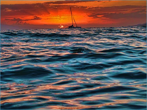 Maui, Hawaii, Sunset, shot from in the water, Kama'ole Beach One