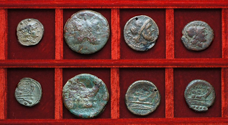 RRC 086 variety anonymous sextans, RRC 87 V bronzes, Ahala collection, coins of the Roman Republic