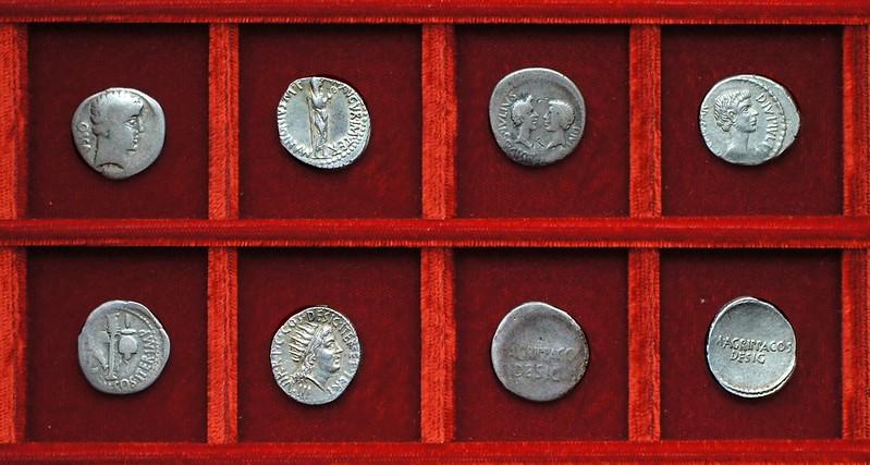 RRC 532 OSCA DOM IMP Domitia, RRC 533 M.ANTONIVS AVGVR Antony, RRC 534 CAESAR M.AGRIPPA Octavian Vipsania, Ahala collection Roman Republic