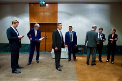U.S. Secretary of State John Kerry looks over his notes before he and Russian Foreign Minister Sergey Lavrov address reporters during a joint news conference following a bilateral meeting focused on Syria held August 26, 2016, at the President Wilson Hotel in Geneva, Switzerland. [State Department Photo/ Public Domain]