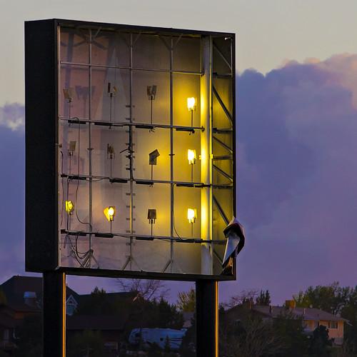 cedarcity utah abandoned street sign highwaysign lights bulbs grid square clouds dusk sunset outdoors minimal urban 8703