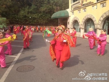 October 24th, 2012 - Chinese dancers greet Tracy McGrady at his 5-star hotel in Qingdao, China