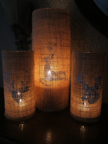 Iron Craft Callenge #22 - Stenciled Burlap Candleholders