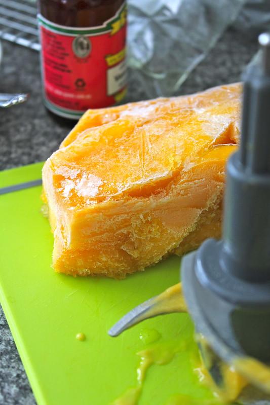 Frozen chunk of mango gelato