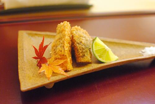 fried matsutake mushroom, sudachi, sea salt