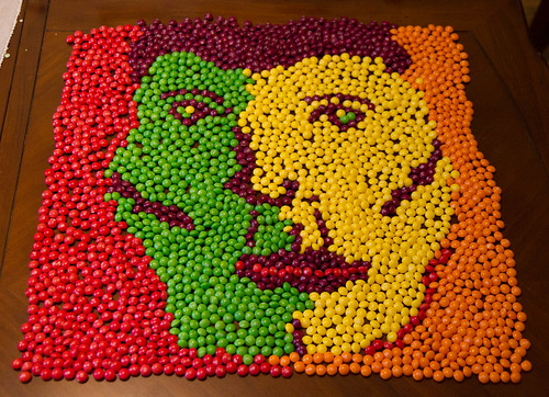 "Create a portrait of Jensen Ackles entirely out of skittles doing his pouty ""Blue Steel"" look. Must be AT LEAST 2 feet by 2 feet"