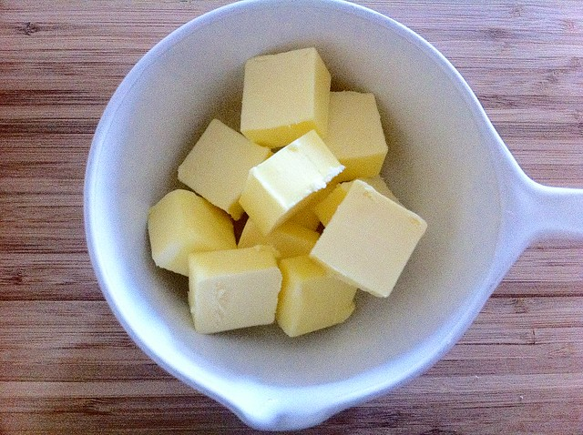 Diced Butter in Melting Dish