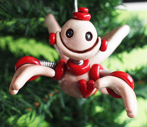 Red Rex Robot Angel Christmas Ornament by HerArtSheLoves