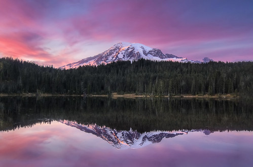 Sunset Reflection over Mount Rainier [Explore]