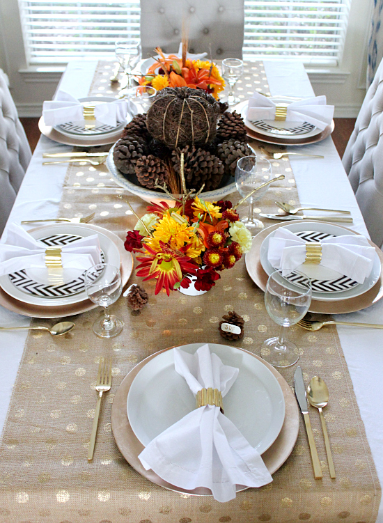 gold polka dot burlap gold flatware modern thanksgiving