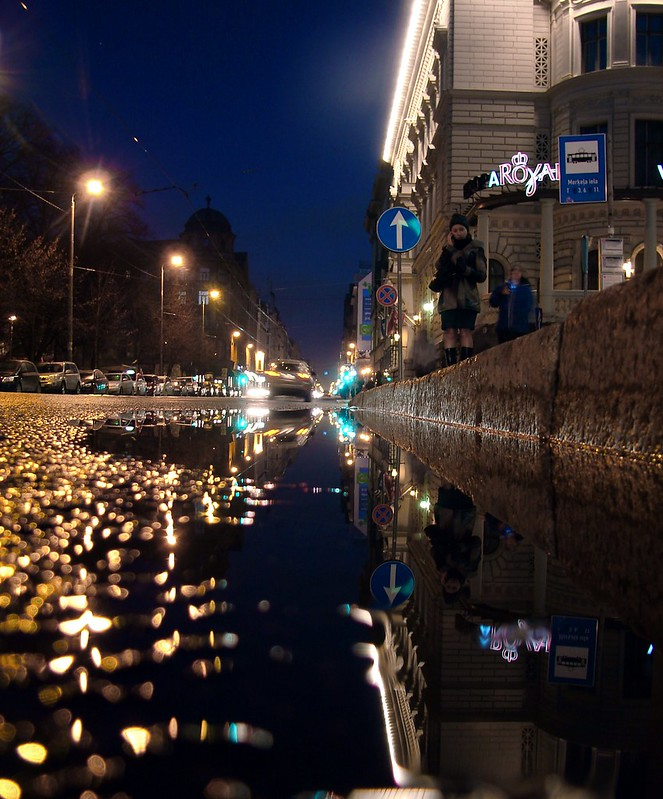 Barona street in reflection by aigarsbruvelis