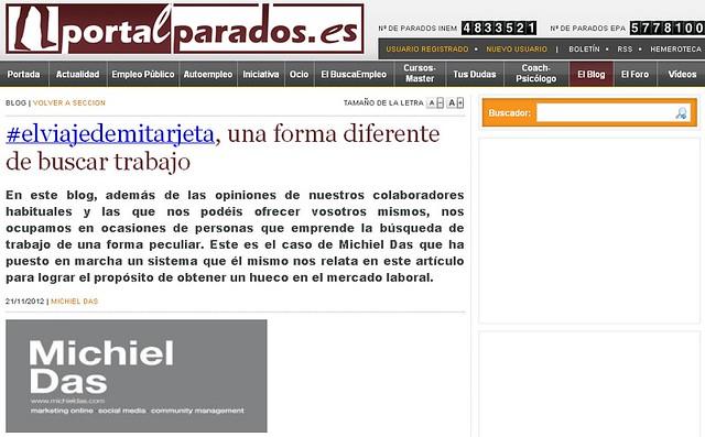 Artíuclo en la web - PortalParados (21.11.2012) - castellano