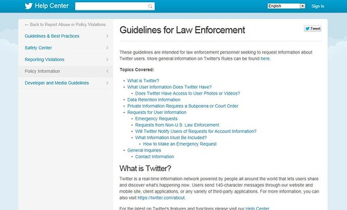 twitter_guidelines for law enforcement