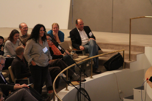Artist Yael Kanarek asks a question after the panel