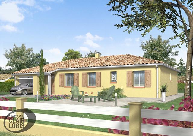 Maison individuelle terre neuve volets bois fa ade avant for Maison individuelle neuve