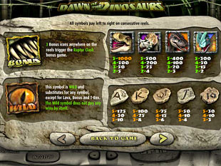 free Dawn of the Dinosaurs slot payout