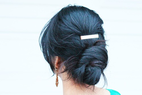 elegant low twist bun