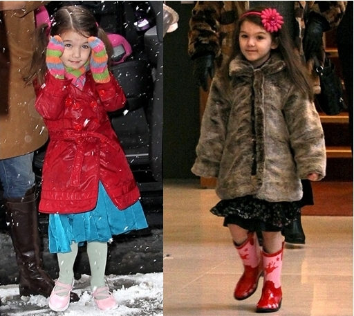 Suri Cruise Wearing Coat Over Dress for Winter