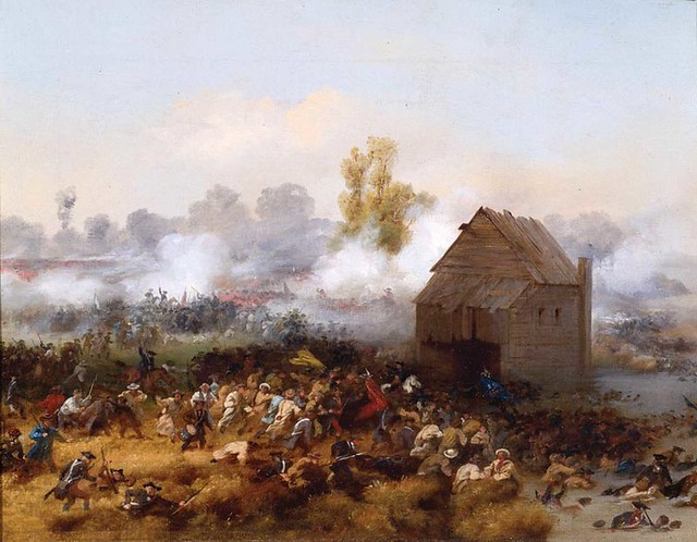 5_1776_Battle_of_Long_Island_at_Denton_Mills_by_Alonzo_Chappel_painted_1858