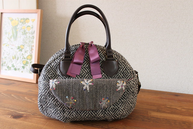 tweed boston bag