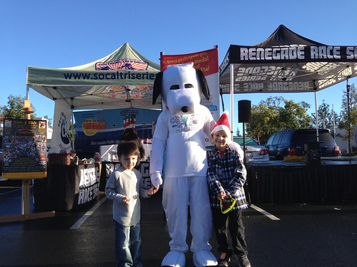 Jenn's (@Littlepiggylife) son and Angry Kid with Snoopy at the Renegade Racing Booth, Santa Run 2012