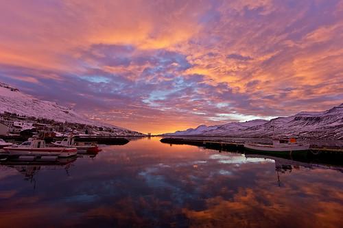 sky reflection clouds sunrise boats iceland village harbour ísland bátar ský himinn speglun höfnin sólarupprás 25faves fáskrúðsfjörður faskrudsfjordur þorp jónínaguðrúnóskarsdóttir