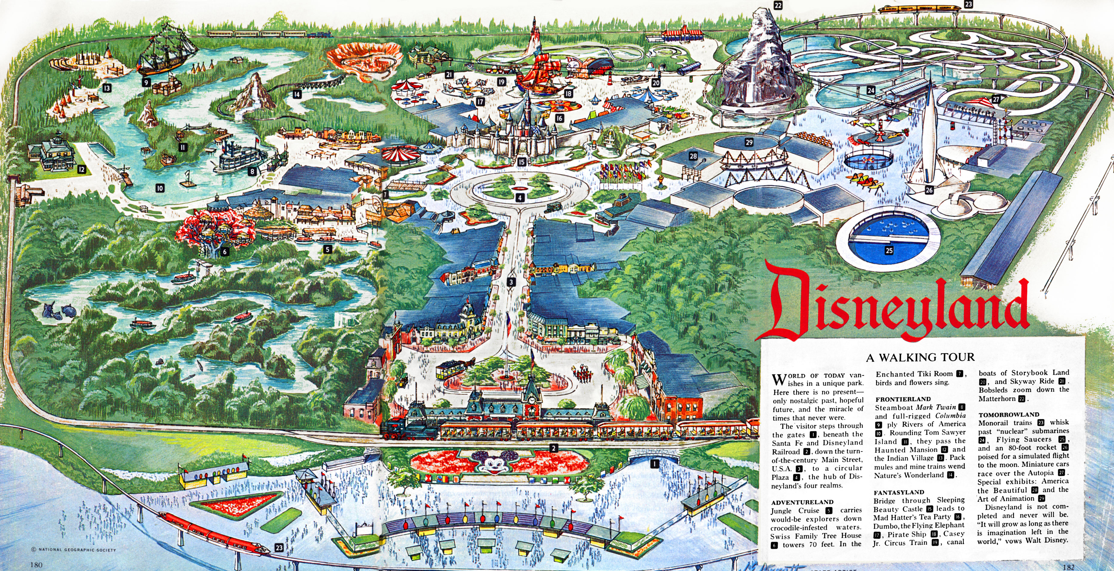 Disneyland map, 1963 : disney on