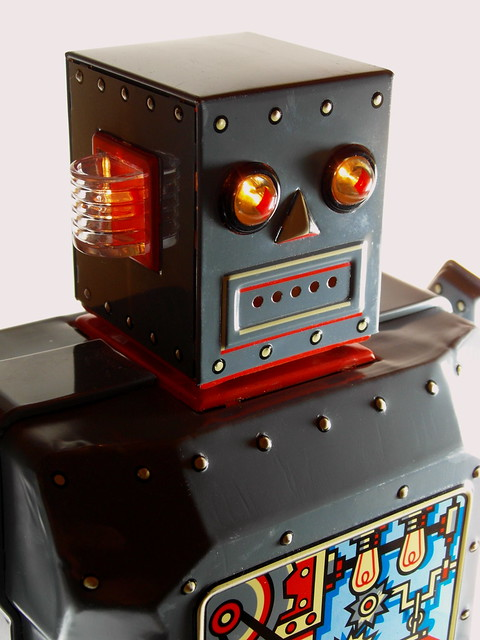 Rocket USA – Tin Battery Operated – R-1 Robot (Robot One) – Close Up with lights on!