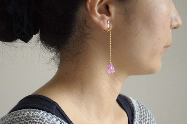 pink triangle earrings