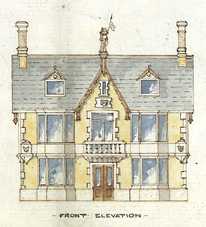 "A coloured drawing of the left-hand side of the pub above, with ""front elevation"" written beneath it in capital letters."