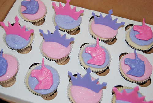 Pink and Purple Unicorn Princess Cupcakes