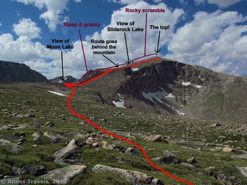 Map of my route up Mount Rearguard, Custer National Forest, Montana