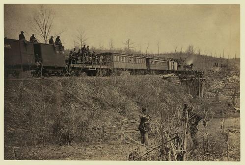 Train over the Bull Run bridge, 1863