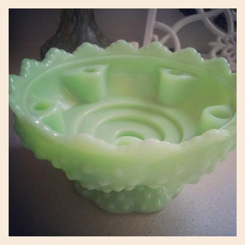 Vintage Fenton jadite hobnail candle bowl