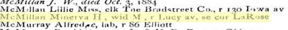 Minerva H Worsham 1886 Memphis