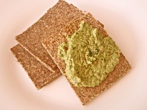 Almond Flour Crackers with Hazelnut Pesto