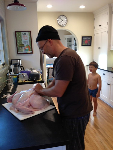 Prepping the turkey