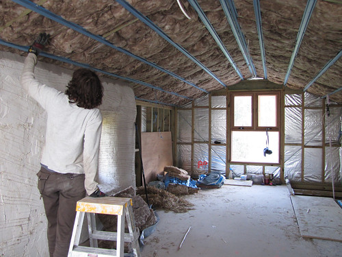 Sue Installing Insulation in Attic Roof - Strawbale House Build in Redmond Western Australia