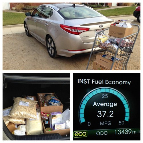 Oh... Just me and the #KiaOptimaHybrid getting sewer gas mileage and picking up a ton of bulk foods! #latergram